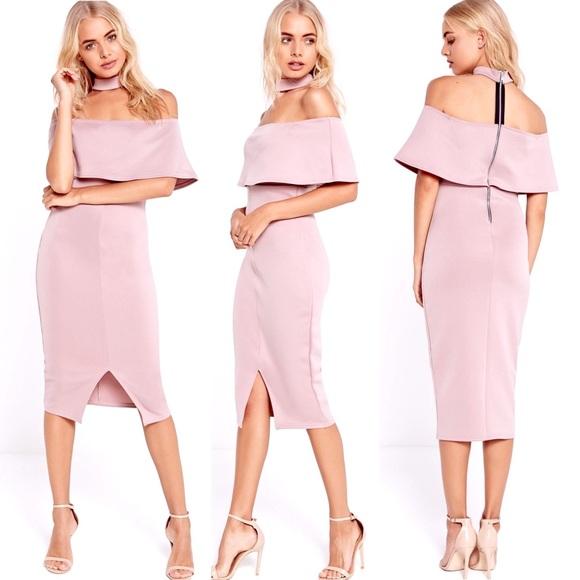 7a8b65bb102 Missguided•Choker Neck Zip Back Bardot Midi Dress